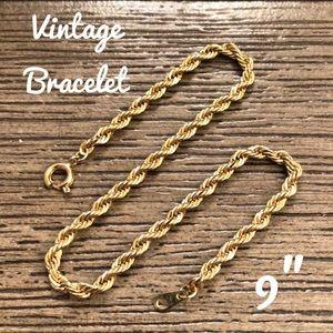 """Vintage Goldtone 9"""" Rope Chain Bracelet"""